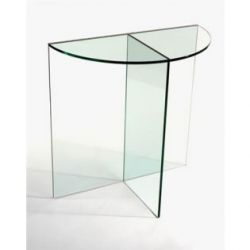 Elegant Half Moon Glass Table